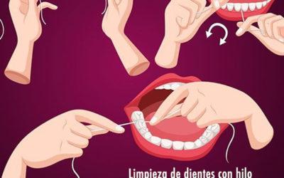 Limpieza de dientes con hilo dental en tres pasos